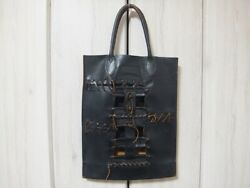 COMME des GARCONS Design Bag Black Leather Hand  Tote Bag Rockabilly Y131