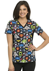 Justice League Cherokee Scrubs Tooniforms Dc V Neck Knit Panel Top Tf648 Dmom