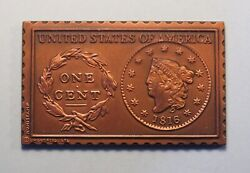 1816 United States Matron Liberty Head Large Cent Numistamp Medal Coin 1978 Reed