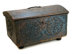 18th Century German - Dutch Hand Carved Wood Chest Box Or Trunk W. Iron Mounts