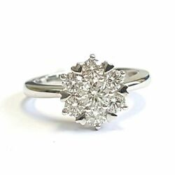 Sale - D-f/vs 1.00ct Round Diamond Cluster Daisy Engagement Ring 18k White Gold