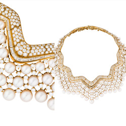 CHANEL 18K GOLD DIAMONDS PEARLS STUNNING COUTURE NECKLACE