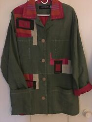 Canvasback Small Linen Blend Patchwork Olive Green Lined In Hot Pink Cool Button
