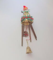 Vintage Christmas Tree Pixie Elves Elf Ornament On The Bell Wind Chimes Rare