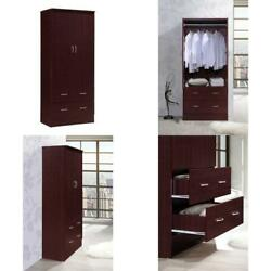 Bedroom Armoire 2 door 2 drawers Wardrobe Storage Closet Cabinet Wood Home NEW