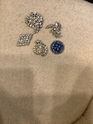 Vintage Signed Faceted Sparkling Crystal Rhinestone Five Brooches/ Pins