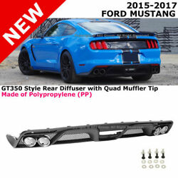 For 2015-2017 Ford Mustang   Gt350 Style Rear Bumper Diffuser With Muffler Tips