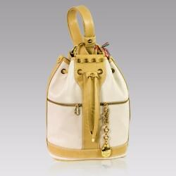 Marino Orlandi Italian Designer Cream Leather Drawstring Sling Bucket Bag Purse