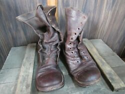 WWII Korea Jump Combat Boots Originals Russet Leather named (7D)