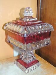 Antique Eapg Covered Compote 10 Crystal Wedding Bohemian Stain Bowl Ruby Flash