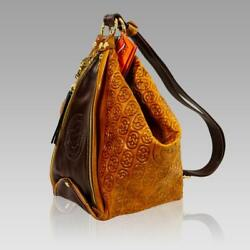 Marino Orlandi Designer Monogram Cognac Leather Large Purse Bucket Sling Bag