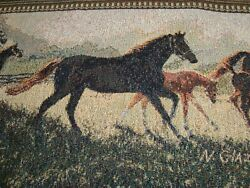 NEW TAPESTRY FABRIC Panel Horses for PILLOW Table Runner Draft guard 17quot; x 54quot;