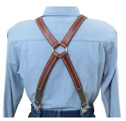 White Stitch Brown Leather Suspenders Silver Ring X Back Trigger Snap Clip
