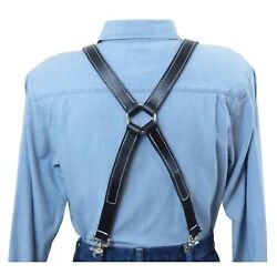 White Stitch Black Leather Suspenders Silver Ring X Back Trigger Snap Clip