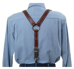 White Stitched Brown Leather Suspenders Silver Ring Y Back Trigger Snap Clip