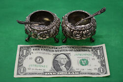 Stieff Sterling Silver Open Salts 2pc Small Bowl Set W/spoons