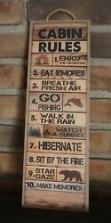 Rustic Cabin Rule Sign Bear Lodge Fishing Camping Man Cave Wood Plank Home Decor