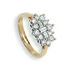 Diamond Boat Cluster Ring Yellow Gold One Carat Hallmarked Certificate Sizes R-z
