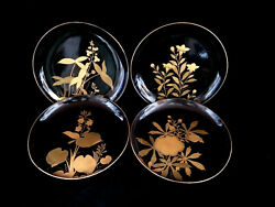 4 Antique Japanese Black Lacquered Wooden Plates. Hand Painged With Gilt. A3040