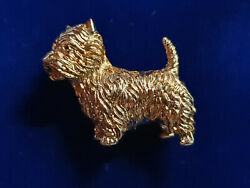 VINTAGE 18k Yellow Gold Terrier RUBY EYES PIN BROOCH SIGNED 21 GRAMS