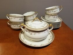 Antique Haviland And Co. Limoges 6 Cups And Saucers And Sugar Bowl