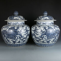 A Pair Chinese Old Antique Porcelain Ming Xuande Blue White Dragon Cover Jar Pot