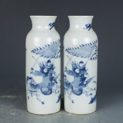 A Pair Chinese Old Antique Porcelain Qing Kangxi Blue White War Will Horse Vase