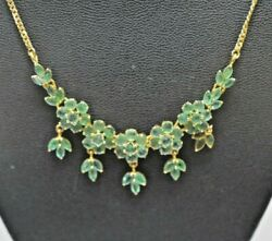 14k Yellow Gold Native Cut 10.3ct Emerald Flower Necklace 18 2240
