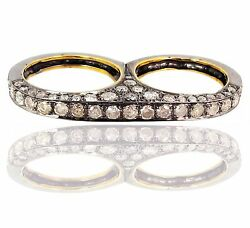 14k Gold Pave 4.69ct Natural Diamond Two Finger Ring Sterling Silver Jewelry Py