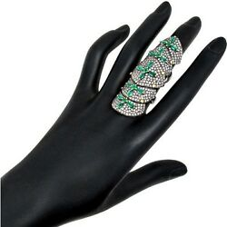 4.56ct Diamond Pave 925 Silver Knuckle Ring 14k Gold Gemstone Emerald Jewelry Oy