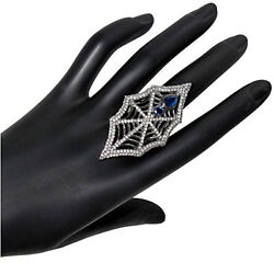 Gemstone Sapphire Spider Web Ring Pave Real Diamond Sterling Silver Jewelry Py