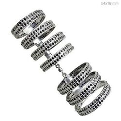 Size 7 Pave Diamond Long Finger Ring Victorian Vintage Style Silver Jewelry Cy