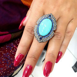 Big Turquoise Blue Sapphire Gemstone Ring 925 Silver Pave Diamond Jewelry Gifts