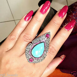 Gemstone Turquoise Pave Diamond Cocktail Ring Sterling Silver Ruby 7 Jewelry Qy