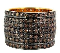3.18ct Diamond Pave Band Ring Sterling Silver Antique Look 14k Gold Fine Jewelry