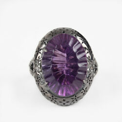 Carved Amethyst Ring 925 Sterling Silver Pave Diamond Jewelry Christmas Gift Us7