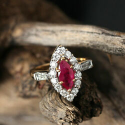 Gemstone Ruby Solid 14 K Yellow Gold Ring Pave Natural Diamond Designer Jewelry