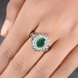 Solid 14k White Gold Emerald Gemstone Ring Natural Diamond Pave Fine Jewelry New
