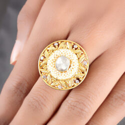 Pearl Beaded Solid 14 K Yellow Gold Cocktail Ring Rose Cut Pave Diamond Jewelry