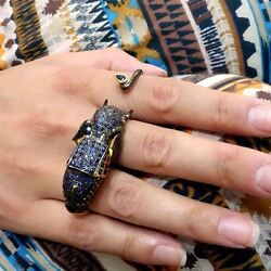 Gemstone Ruby Sapphire Pave Sterling Silver Elephant Three Finger Ring Jewelry 7
