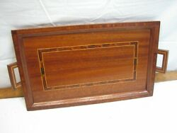Vintage Wood Art Marquetry Inlaid Wood Serving Tray Wooden Art Picture Geometric