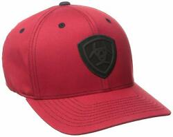 Ariat Mens Flex Fit Embroidered Logo Ball Cap Hat Red/black Large/x-large
