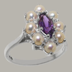 Solid 18ct White Gold Natural Amethyst And Full Pearl Womens Cluster Ring
