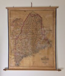 """Antique 1888-89 Colby And Stuart State Of Maine Wall Scroll Map 27 7/8"""" X 34 3/4"""""""