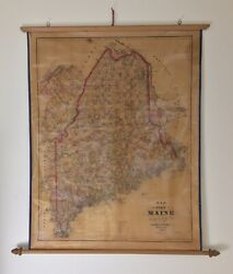 Antique 1888-89 Colby And Stuart State Of Maine Wall Scroll Map 27 7/8andrdquo X 34 3/4andrdquo