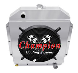 2 Row Rel Champion Radiator 16 Fan Shroud For 1949 - 1953 Ford Cars Chevy Eng