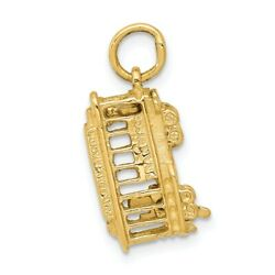 14k Yellow Gold 3 Dimensional Polished Trolley Car Casted Charm Pendant