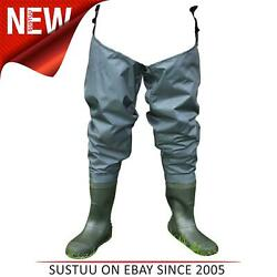 Shakespeare Sigma Fishing Nylon Hip Waders With Cleated Sole│green│size 8 - 11