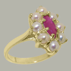Solid 18ct Yellow Gold Natural Ruby And Full Pearl Womens Cluster Ring