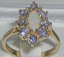 Solid 18ct Yellow Gold Natural Opal And Tanzanite Womens Cluster Ring